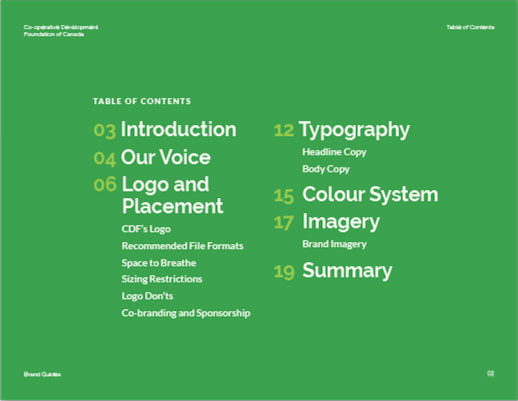 A green slide with the Table of Contents outlining the following sections: introduction, our voice, logo and placement, typography, colour system, imagery, and summary