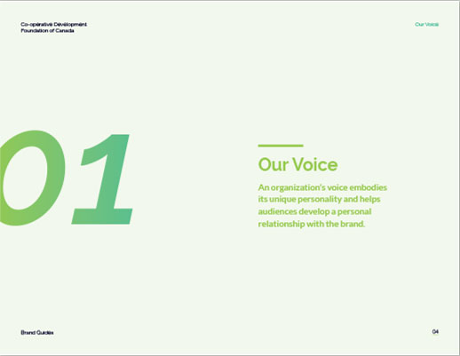 A very light green slide with '01' in a large font on the left, with 'Our Voice' as a title to the right with text underneath.