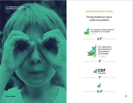A white slide with an image of a young girl on the left using both of her hands as binoculars. The image has a teal overlay. The right side of the slide has the sizing restrictions of the CDF logo with multiple versions/sizes of the CDF logo in a column.