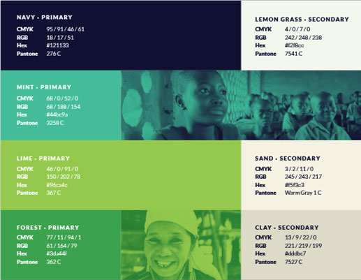 A four row slide, each row with a different colour. The top is a navy blue which is the primary colour for CDF's brand. The second is mint green. The third is lime green. The fourth is forest green. On the right of the slide there are three more colors: lemongrass, sand, and clay which are kind of beige.