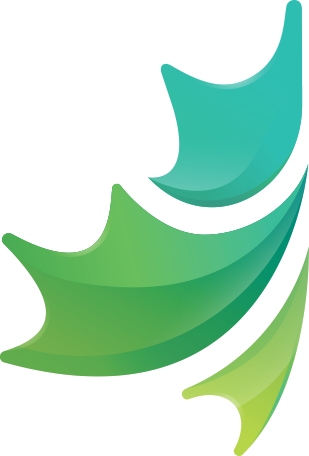 The CDF logo without text. It looks like half of a maple leaf with a colour gradient running from the top to the bottom. It starts off as mint, then fades into forest, and finally to lime at the bottom.